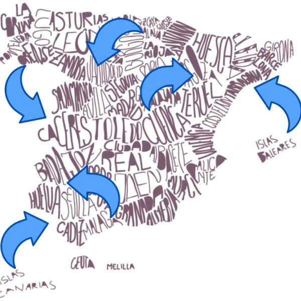 MAPA FLECHAS ESPAÑA